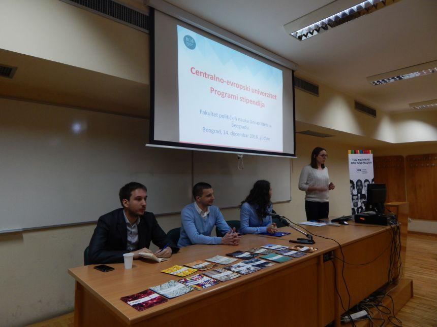 Studentima Fakulteta političkih nauka predstavljeni MA i PhD programi Centralno-evropskog univerziteta